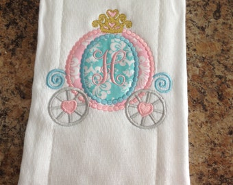 Applique Princess Carriage burp cloth