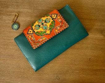 Handmade leather bag with handmade painting