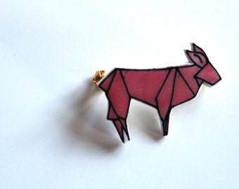 Biche Style Origami Rose brooch
