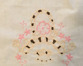 Pastel Pink & Yellow Vintage Embroidered Tablecloth