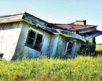 BROKEN HOME TOO- Colour Photograph-Abandoned House In Field