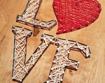 Love nail string art