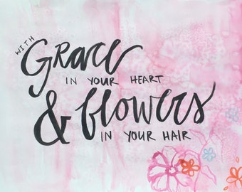 Grace and Flowers Watercolor