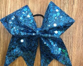 Blue Sequins Bow