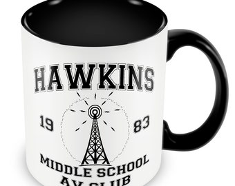 Hawkins Middle School AV Club Mug Glazed Black Handle and Inner Stranger Things Inspired Mug Gift