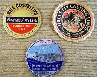 Vintage Fishing Line Labels - Set of 3