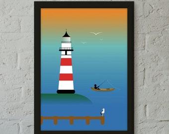 LIGHTHOUSE DAY Art Print, Wall Art, Home Decor, Childrens Room Print,Home Print,Loft Art Print,Nautical Art