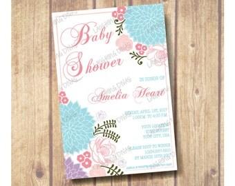 Floral Design Baby Shower Invitation