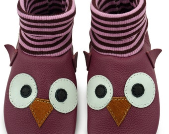Baby shoes, leather sock OWL face