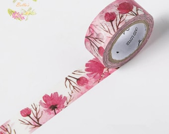 Pink Poppy Floral Washi Tape
