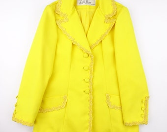 1960s Deadstock Lilli Ann Decorative Trim Dazzling Yellow Polyester Jacket - NEW