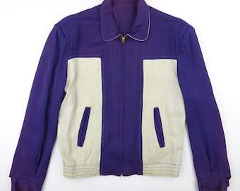 1950s Reversible T-Flont Pattern Navy Atomic Fleck Rayon Gabardine Ricky Jacket