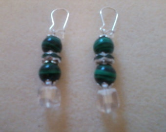 Emerald Green Beads with Crystal AB Cube Earrings