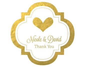 """Personalized Metallic Foil 1.5"""" Mini Favor Labels -set of 24- wedding labels, gold foil wedding labels, favor jar labels, favor bag labels"""