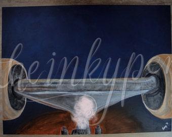 "Skateboard - ORIGINAL Acrylic painting, 30x40"" (100x75cm), ready to hang"