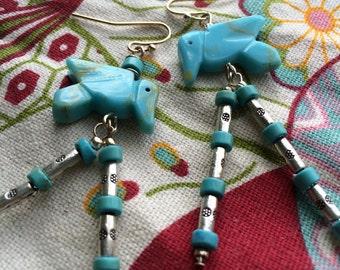 Southwestern Turquoise Bird Earrings