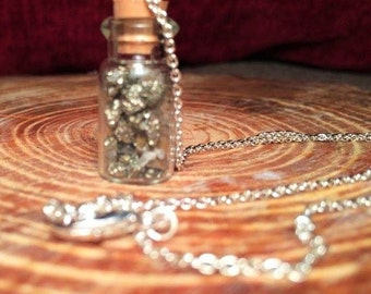 Glass Jar pyrite Pendant Necklace