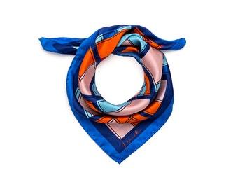 Silk bandana, silk Neckerchief, foulard, Blue Orange Pink, graphic designer scarf, colourful bandana, square silk, geometric, urban