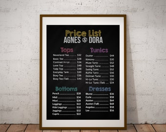"EDITABLE | Chalkboard Ages & Dora Price List | Includes 2 Sizes | 16"" x 20"" 