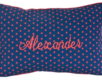 Personalised Name Cushion - red stars