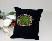 Vintage Carved Green Stone Brooch with Gold Rope Looped Frame