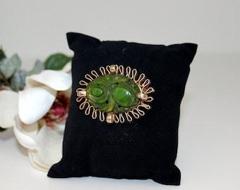 Vintage Carved Jade Brooch with Gold Backing
