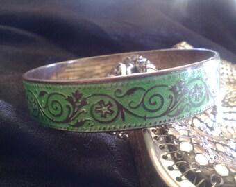 Rare Vintage Bernard Instone Enamel Sterling Silver Bangle Bracelet in VGC Arts and Crafts  Fully Hallmarked Free Postage
