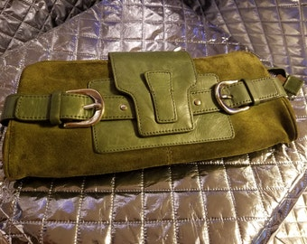 Suede Green Clutch