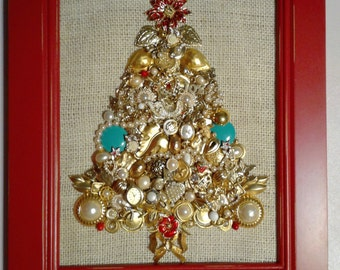 Jewelry Christmas tree framed jewelry artwork 'Christmas Cheer'  made w/ vintage and new jewelry