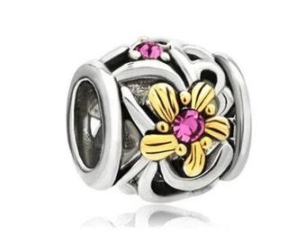 Charm Central Premium Two Tone Pink Flower Charm for Charm Bracelets - Fits Pandora Bracelets