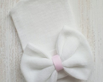 Newborn girl hospital hat- white bow, baby girl hospital hat, white hospital hat, newborn hat, baby girl beanie, baby shower gift