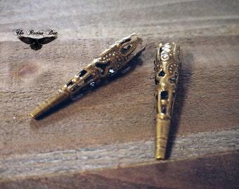 "Bronze Bead Caps Cone Bead Caps Filigree Antiqued Bronze Long Bead Caps 10 pieces 41mm 1.61"""