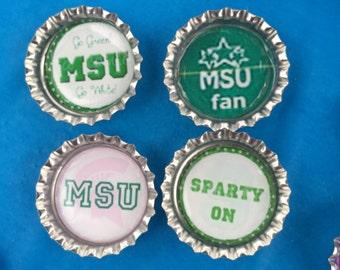 Michigan State Bottle Cap Magnets - Set of 4