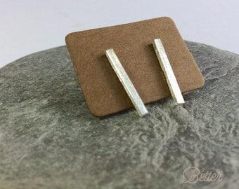 Last Pair Minimalist Earrings Ear Studs Posts 925 Sterling Brushed Silver Dainty UK Seller Free Postage