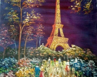"24""X36"" Handpainted Paris Scene Eiffel Tower Oil Paiting on Canvas Wall Decor"