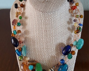 Glass Bead and Copper Wire Necklace