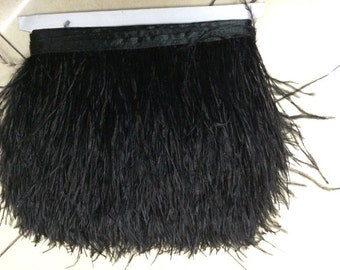 10 yards / lot 10 to 15 cm / 4 to 6 inches ostrich feather headdresses Feather Trim Feather Boa stripe for clothing accessories craft black