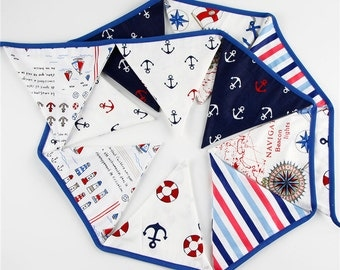 12 Flags 3.2m Pirate Theme Cotton Fabric Bunting Pennant Flags Banner Garland Wedding/Birthday/Baby Shower Party Decoration
