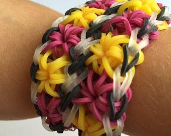 Rainbow loom double starburst bracelet plum yellow