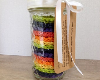 FIFTEEN 100% Cotton Face Scrubbies in Vibrant Rainbow Hues