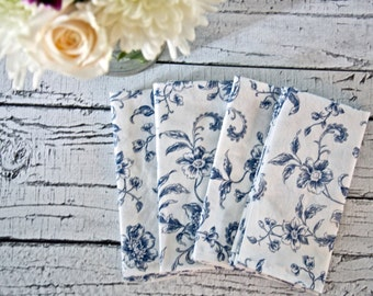Blue Floral Cloth Napkins, Dinner Party, Classic Brunch or a Summer Party