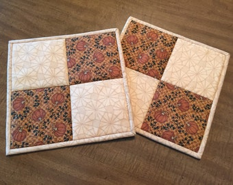 quilted potholders, trivet, fall potholders, hot pad Quiltsy handmade