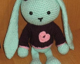 Mint Bunny, Rabbit, Handmade, Amigurumi, Toys