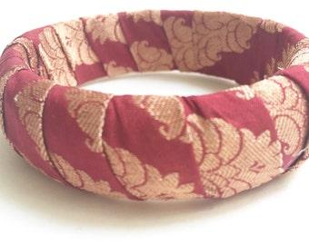 Sari Silk Bangle - Red