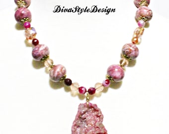 Rose Druzy Necklace with Rhodonite and Crystals