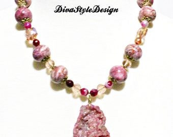 Beautiful Rhodonite Statement Necklace with Rose Druzy Pendant & Crystals, One of a kind beauty