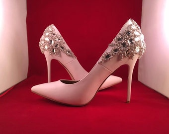 White Bridal Shoes Wedding Shoes Sparkle Stiletto High Heels