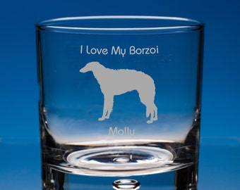 Borzoi Whisky Glass Dog Lover Gift, Personalised Engraved Whiskey Glass, Borzoi Dog Gift, Borzoi Whiskey Glass, Borzoi Glass Gift, Borzoi