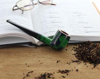 Tobacco Pipe - Genuine Briar French Tobacco Pipe - Straight Billiard - Green/Blue Marbled Design