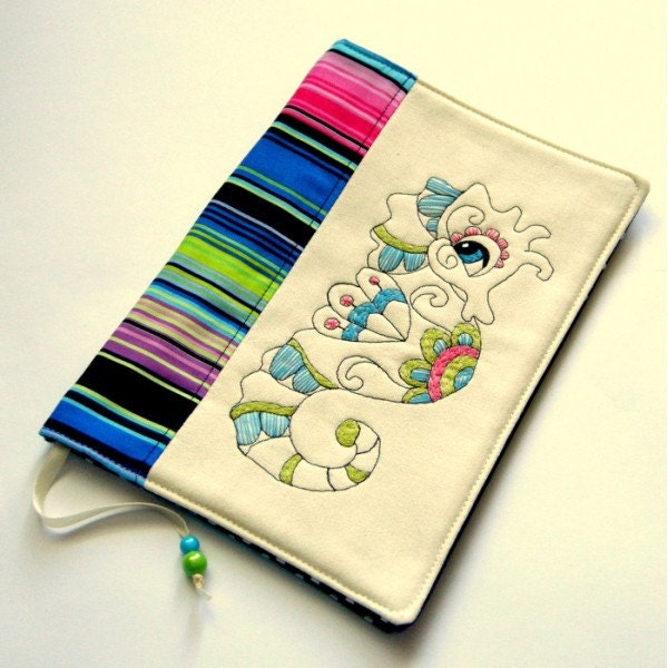 Reusable Fabric Book Cover : Seahorse fabric book cover reusable travel journal textile